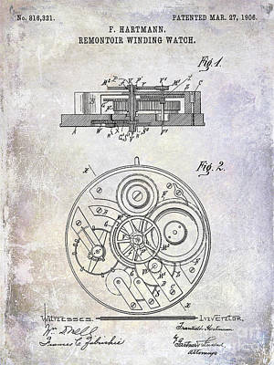 1908 Pocket Watch Patent  Art Print