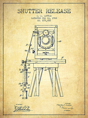 Camera Digital Art - 1908 Shutter Release Patent - Vintage by Aged Pixel