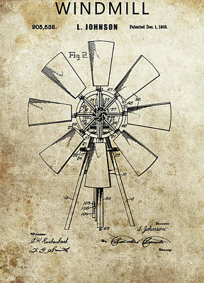 Drawing - 1908 Windmill Patent by Dan Sproul