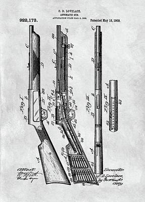 Drawing - 1909 Automatic Rifle Patent by Dan Sproul