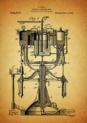 1909 Beer Bottling Machine Patent Art Print