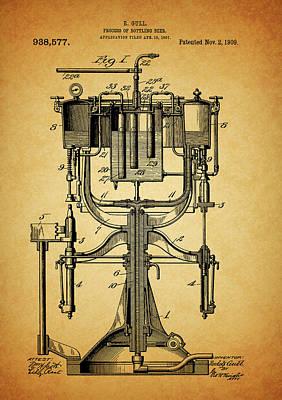 Beer Drawings - 1909 Beer Bottling Machine Patent by Dan Sproul