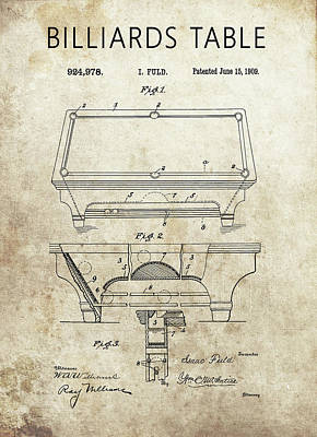 Drawing - 1909 Billiards Table Patent by Dan Sproul