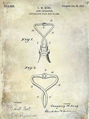 1909 Cork Extractor Patent Art Print