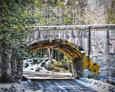 1909 Country Backroad Train Overpass Art Print by Rena Trepanier