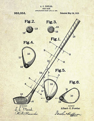 Ball Digital Art - 1909 Golf Club Patent Art by Gary Bodnar