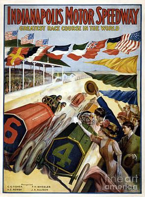 Race Cars Photograph - 1909 Indy 500 Poster by Jon Neidert