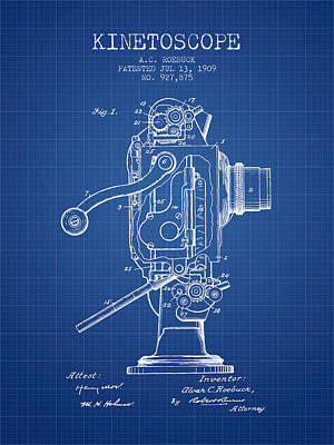 1909 Kinetoscope Patent - Blueprint Art Print by Aged Pixel