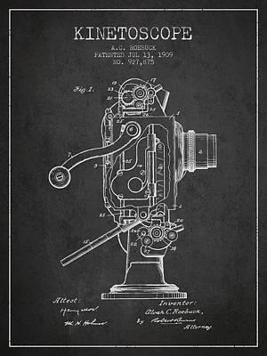 1909 Kinetoscope Patent - Charcoal Art Print by Aged Pixel