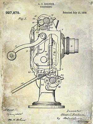 Vintage Camera Photograph - 1909 Kinetoscope Patent  by Jon Neidert
