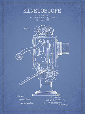 Camera Digital Art - 1909 Kinetoscope Patent - Light Blue by Aged Pixel