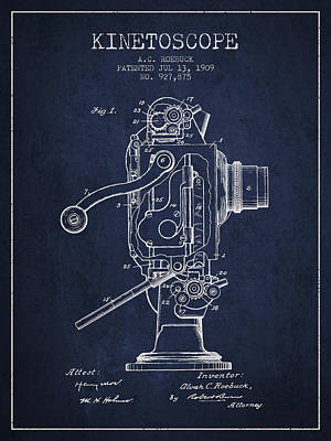 1909 Kinetoscope Patent - Navy Blue Art Print by Aged Pixel