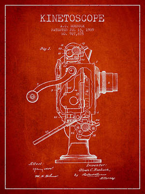 Camera Digital Art - 1909 Kinetoscope Patent - Red by Aged Pixel