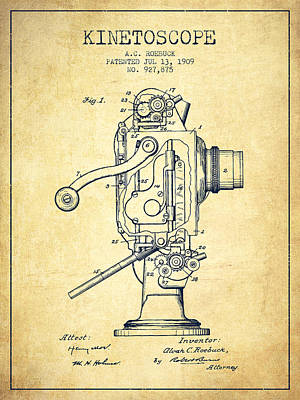 Camera Digital Art - 1909 Kinetoscope Patent - Vintage by Aged Pixel