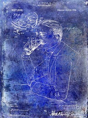 Stein Photograph - 1909 Mustache Guard Patent Blue by Jon Neidert