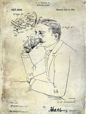 Stein Photograph - 1909 Mustache Guard Patent by Jon Neidert