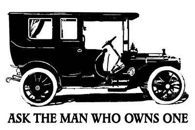 Digital Art - 1909 Packard Limousine Slogan by David King