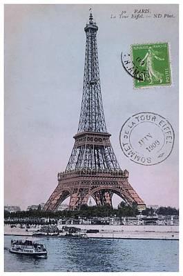 Notre Dame Digital Art - 1909 Paris Eiffel Tower Colorized Postcard by Retro Graphics