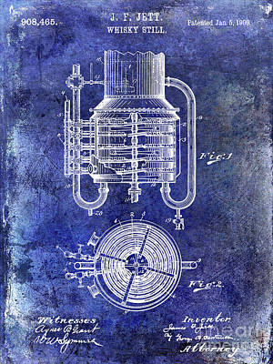 1909 Whiskey Still Patent Blue Art Print by Jon Neidert