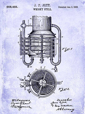 1909 Whiskey Still Patent Blueprint Art Print by Jon Neidert