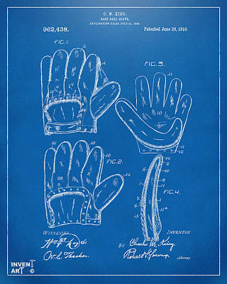 Baseball Drawing - 1910 Baseball Glove Patent Artwork Blueprint by Nikki Marie Smith