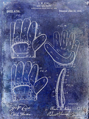 Baseball Mitt Photograph - 1910 Baseball Glove Patent Blue by Jon Neidert