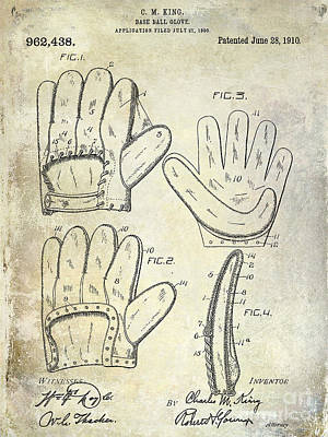 Baseball Gloves Wall Art - Photograph - 1910 Baseball Glove Patent  by Jon Neidert