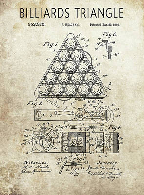 Drawing - 1910 Billiards Triangle Patent by Dan Sproul