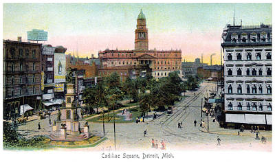 Painting - 1910 Cadillac Square Detroit Michigan by Historic Image