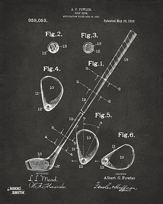 Golf Drawing - 1910 Golf Club Patent Artwork - Gray by Nikki Marie Smith
