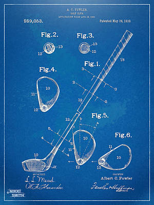 Swinging Digital Art - 1910 Golf Club Patent Artwork by Nikki Marie Smith