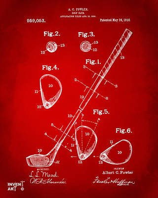 1910 Golf Club Patent Artwork Red Art Print by Nikki Marie Smith