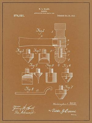 Drawing - 1910 Hammer Patent by Dan Sproul