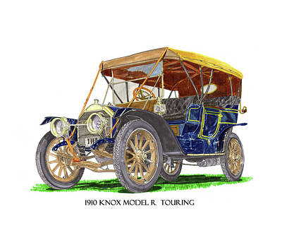 1910 Knox Model R 5 Passenger  Touring Automobile Art Print by Jack Pumphrey