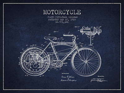Bike Drawing - 1910 Motorcycle Patent - Navy Blue by Aged Pixel
