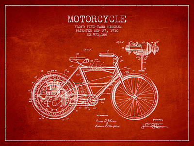 Bike Drawing - 1910 Motorcycle Patent - Red by Aged Pixel