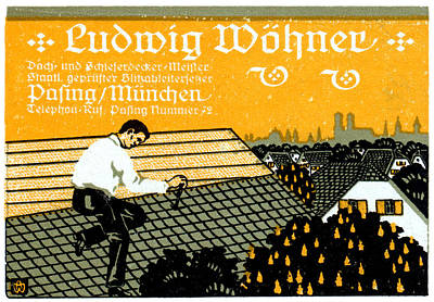 Painting - 1910 Munich Roof Repair Advertisement by Historic Image