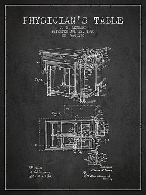 1910 Physicians Table Patent - Charcoal Art Print by Aged Pixel