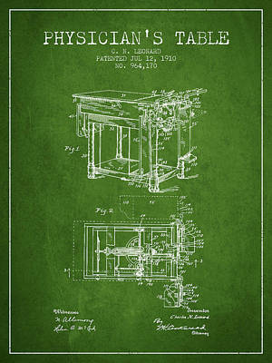 1910 Physicians Table Patent - Green Art Print by Aged Pixel
