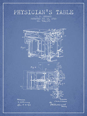 1910 Physicians Table Patent - Light Blue Art Print by Aged Pixel