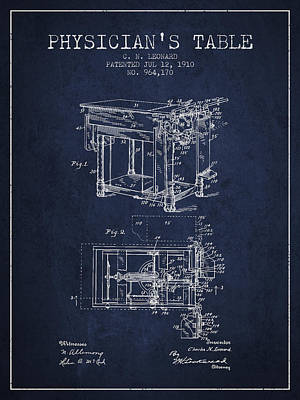 1910 Physicians Table Patent - Navy Blue Art Print by Aged Pixel