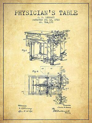 1910 Physicians Table Patent - Vintage Art Print