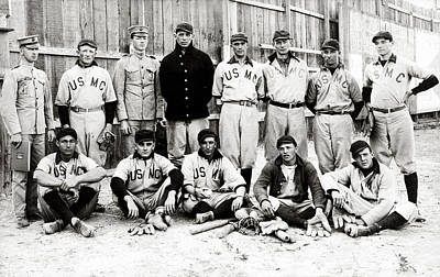 Photograph - 1910 United States Marine Corps Baseball by Historic Image