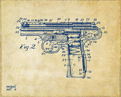 1911 Automatic Firearm Patent Minimal - Vintage Art Print