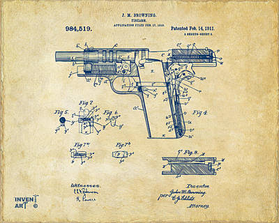 1911 Colt 45 Browning Firearm Patent 2 Artwork Vintage Art Print by Nikki Marie Smith
