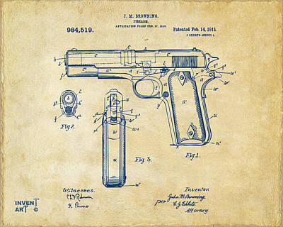 Lovers Art Drawing - 1911 Colt 45 Browning Firearm Patent Artwork Vintage by Nikki Marie Smith