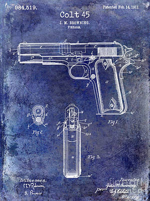 1911 Colt 45 Firearm Patent Art Print by Jon Neidert