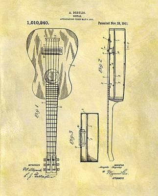 Musicians Drawings - 1911 Guitar Patent by Dan Sproul