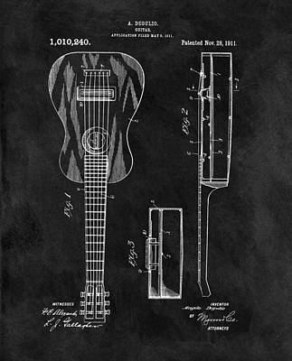 Musicians Drawings - 1911 Guitar Patent Illustration by Dan Sproul