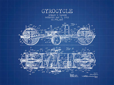 Bike Drawing - 1911 Gyrocycle Patent - Blueprint by Aged Pixel